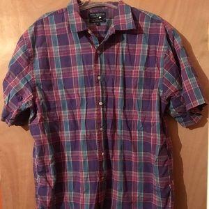 Men's short sleeve purple plaid button down